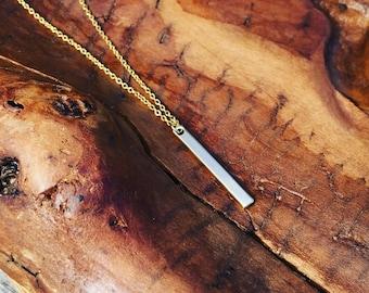Gold Hanging Bar Necklace