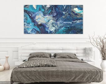 Original Abstract Acrylic Painting on Stretched Canvas, Modern Contemporary Art, Blue White Teal Painting, Wall Decor, OAK Signed, Ocean,