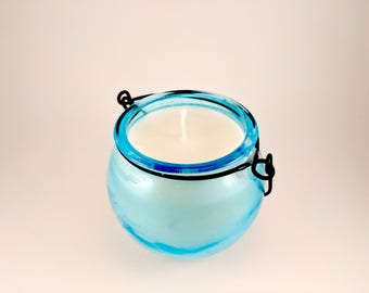 Handmade Sweet Pea Scented, Soy Wax Candle in a Blue Lantern Vase