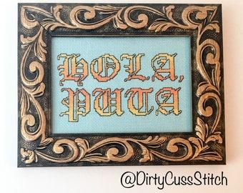Hola, Puta framed cross stitch