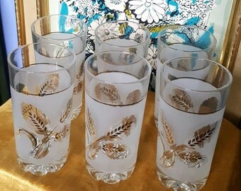 Vintage 1960's Covetro Italy Frosted Tumblers with Gold Wheat Motif
