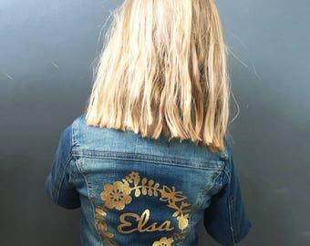 Personalised girls denim jacket, custom girls denim jacket, denim with glitter, flowers, name on back, children's denim jacket, kids denim