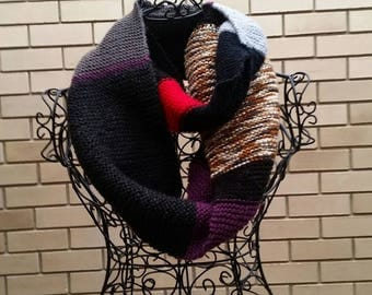 Random multi coloured hand knitted infinity scarf/cowl