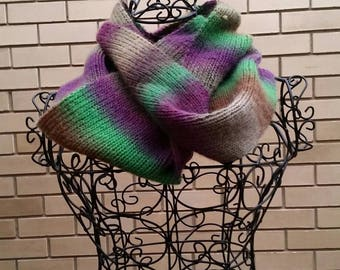 Wool and acrylic mix. Purple and green infinity scarf/cowl