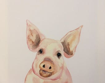 Petunia Watercolor Pig PRINT