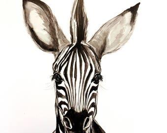 Baby Zebra Watercolor PRINT