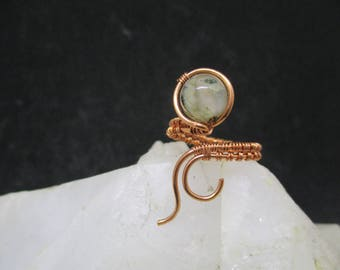 Copper Wire Wrapped Adjustable Ring with Gemstone Bead