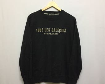 Vintage Tous Less Calecons Sweatshirt Size L Big Spell Out Design with Gold Embroidedery