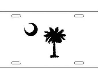 South Carolina - SC Palmetto Tree License Plate - Vinyl - Many Colors!