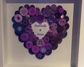 Personlised Heart Button Art