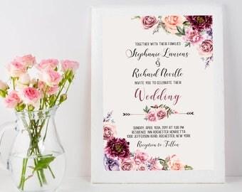 Wedding Invitation Suite Printable Floral Digital Wedding Marsala Burgundy Vintage Romantic  Invitation Bohemian Wedding Invite WS-030b