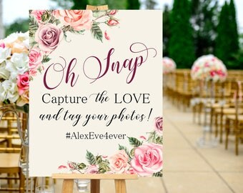 Oh Snap Hashtag Wedding Instagram Sign Peach Pink Blush Floral Peonies Boho Digital Wedding Sign Bohemian Wedding Fun Hashtag Poster WS-032