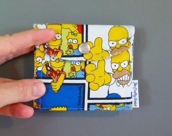The Simpsons - Handmade Coin Purse - Pearl Snap Coin Pouch - Cute Coin Purse - Change Wallet - Birth control case