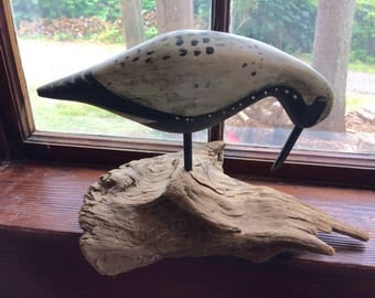 "Wood Carved ""Back Belly Plover on Driftwood""  11"" x 9"" x 8"""