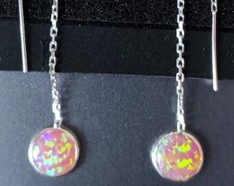 Pink fire opal dangle earrings