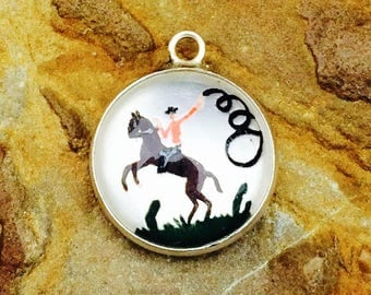 Vintage Intaglio Glass Dome Cowboy on Horse Charm - Sterling Silver