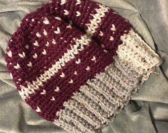 Maroon and Grey crocheted beanie, crochet hat, womens hat, winter hat for women, fair isle womens beanie