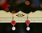 Gorgeous Heart and Pearl Earrings for the Holidays Valentine's Day Heart Pearl Earrings