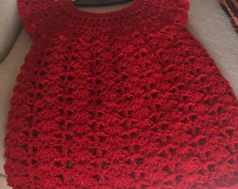 Red handmade sparkly little girls dress
