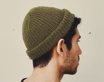 Olive Green Hand Knit Ribbed Beanie