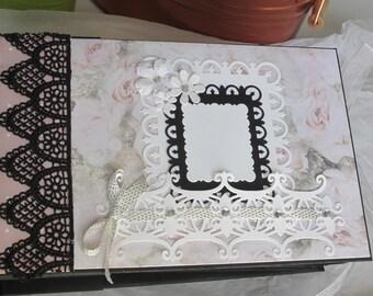 Mini wedding album, mini album, pink and black mini album, love mini album