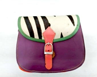 Danielle: Upcycled High Quality Hand-made Leather Colourful Shoulder Bag with Animal Print