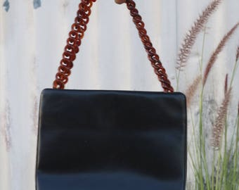 Vintage 50s Purse with Lucite Chain Strap
