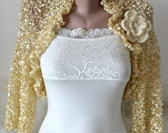 Champagne bridal bolero, Woman wedding silk shrug
