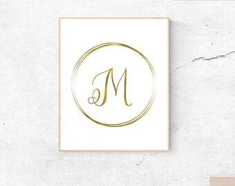 Letter M, gold, monogram, letter, initial, instant download, gold poster, printable art, wall art, gold monogram