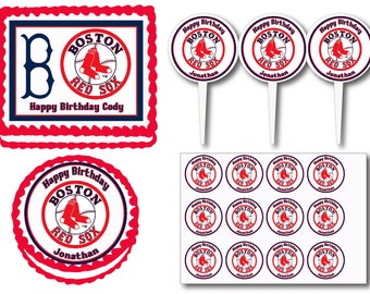 Boston Red Sox Birthday Party Edible Cake Cookie Toppers or Plastic Cupcake Pick Stickers Decoration Baking Supply