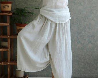 Cotton and linen trousers   Louis Vuitton  loose fit pants, Female Trousers,White linen trousers,loose pants