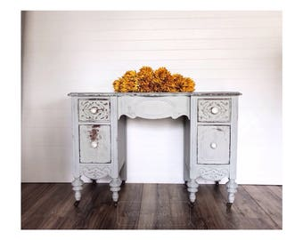 SOLD   Painted Distressed Vintage Vanity Desk In Blue Grey With Glass Knobs  Non Toxic