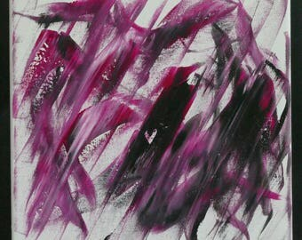 Original Abstract Painting Black/Pink Acrylic