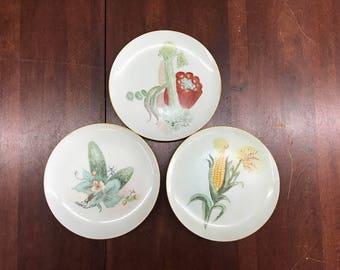 Set of 3 ceramic plates with a gold trim