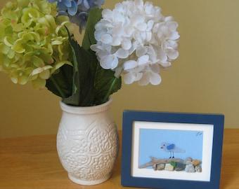 Sea glass Great Blue Heron, Nautical art, Cottage Decor, Maine Beach Art, 4X5 Frame, Sea glass bird, Sea glass art, sea glass, heron