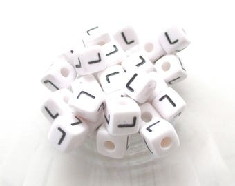 Alphabet beads 10 L acrylic 10 * 10mm