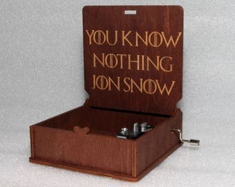 "You Know Nothing Jon Snow- Engraved Wooden Music Box - ""Game Of Thrones"" - Night's Watch - Hand Crank Movement"