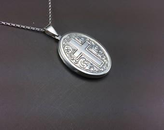 Sterling silver Locket, Silver Cross, Silver Cross Locket, Large Sterling Locket, Photo Locket, Oval Locket, Silver necklace