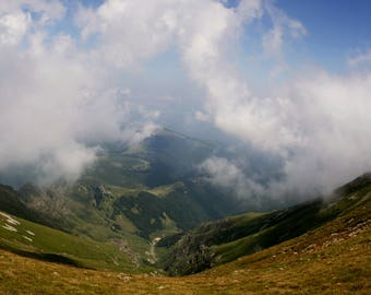 Mountain landscape, cloud over the mountain, relax in the moutain, Stara planina moutain in Bulgaria