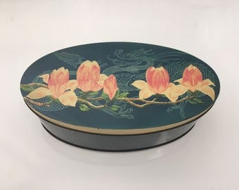 W R Jacob And Co Ltd Biscuit tin, Dragon and tulips oval tin with lift off lid