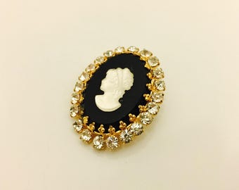 1980s Vintage Cameo Brooch, Black and Glass Cameo Portrait Pin with Rhinestones