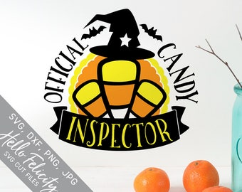 Halloween Svg, Candy Inspector Svg, Witch Svg, Bat Svg, Baby Svg, Dxf, Jpg, Svg files for Cricut, Svg files for Silhouette, Vector Clip Art