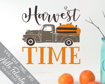 Fall Svg, Pumpkin Svg, Harvest Time Svg, Vintage Truck Svg, Dxf, Jpg, Svg files for Cricut, Svg files for Silhouette, Vector Art, Clip Art