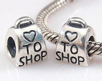 Sterling Silver Shopaholic Love To Shop Charm Bead for Bracelet Making