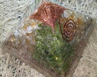 "3"" Welth Orgone Pyramid- Citrine Stone - Peridot Stone -Copper and Pyrite"