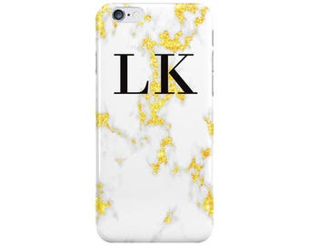 Personalised Name initials Gold White Marble Phone Case Cover for Apple iPhone 5 6 6s 7 8 Plus & Samsung Galaxy Customized Monogram