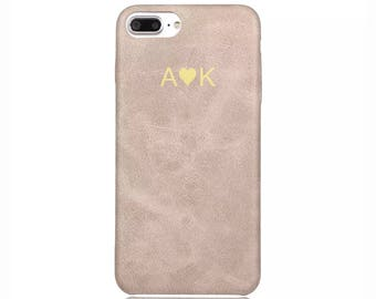 Personalised initials Beige Vintage PU Leather Love Heart Phone Case Apple iPhone 5 6 6s 7 8 10 X Plus Embossed Cover Customized Monogram