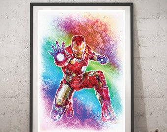 Iron Man poster, superheroes wall art, DC Comics printable poster, digital print, Iron Man kids home decor, The Avengers instant download