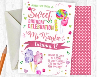 Candy Birthday Invitation, Candy Invitation, Candy Invite, birthday invite, Birthday Party, Printable Invitation, Cotton Candy