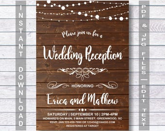 Wedding Reception Invitation Instant Download RUSTIC Wooden